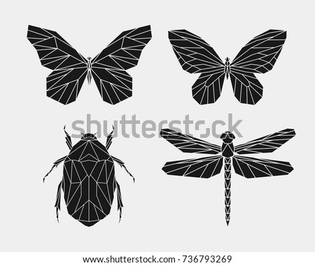 set of black polygonal insects