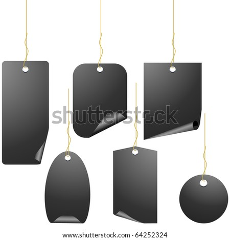 Set of 6 black price tags isolated on white vector