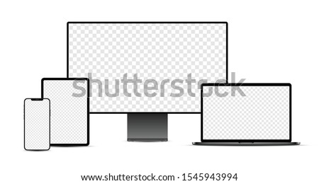 Set of black realistic electronic devices: smartphone, tablet, laptop, display with blank checkered transparent screens.  Vector illustration.