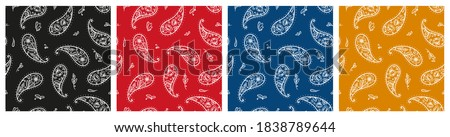 Set of Black, Red, Blue, Yellow Paisley Bandana Ornament Prints. Vintage Oriental Paisley Seamless Pattern with Poppy Flowers. Boho Style Vector Floral Background. Great for Silk Neck Scarf, Headscarf