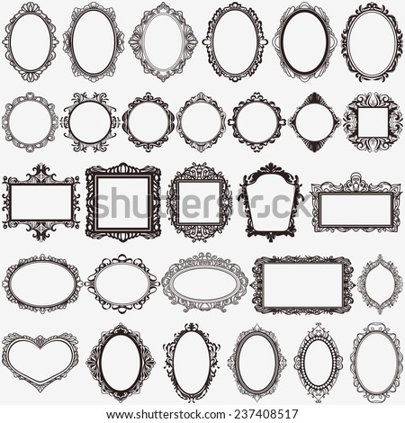 set of black round and square vintage frames, design elements #237408517