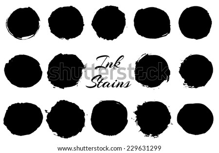 Set of black round ink stains. Vector eps10.