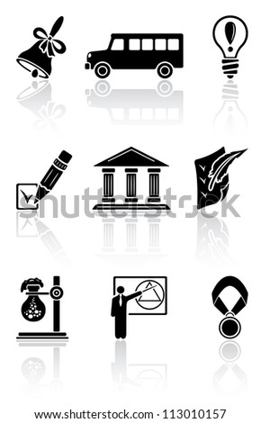 Set of black school icons on a white background, illustration