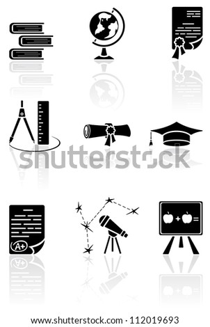 Set of black science icons on a white background, illustration