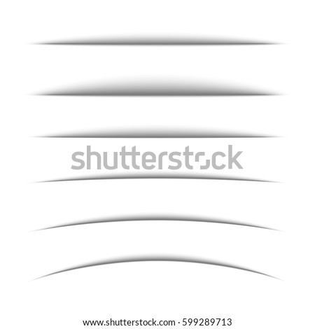 Set of black shadow for page tab dividers. Vector isolated on white background. Collection paper shadow effect.