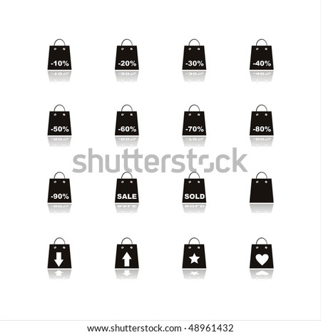 set of 16 black shopping bags icons