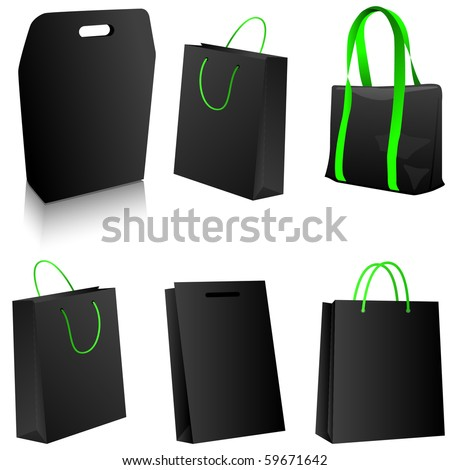 Set of black shopping bags. Vector - stock vector