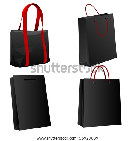 Set of black shopping bags. Vector illustration.