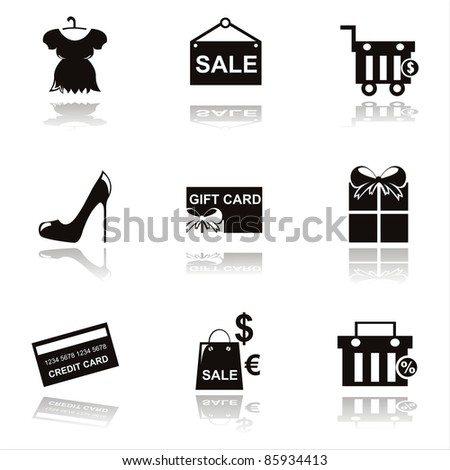 set of 9 black shopping icons