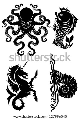 set of black silhouette on sea