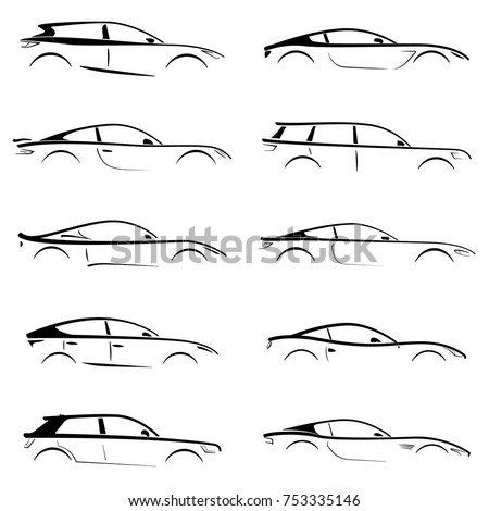 Set of black silhouettes concept cars on white background. Vector illustration.