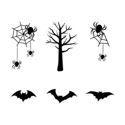 Set of black silhouettes for the holiday halloween. Spider web, tree, bats. Festive decorations for an autumn October day.