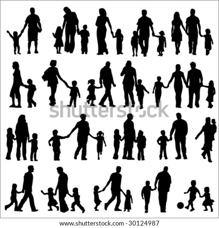 Set Of Black Silhouettes Illustration Of Parents With Children