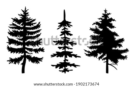 set of black silhouettes of fir