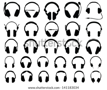 Set of black silhouettes of headphones, vector