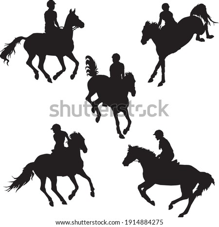 set of black silhouettes of