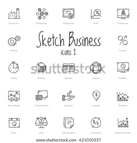 Set of black sketch business icons isolated on light background.