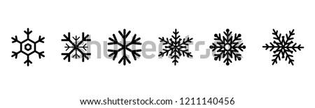 Set of black Snowflakes icons. Black snowflake. Snowflakes template. Snowflake winter. Snowflakes icons. Snowflake vector icon. Eps10