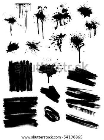 set of black splashes and brush strokes
