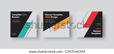 Set of black square vector web for social networks with diagonal color elements and space for photo. Templates for web standard size.