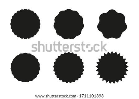 Set of black starburst badges icon. Sunburst stickers for price, promo, quality, sale tags. Vector illustration. Stock foto ©