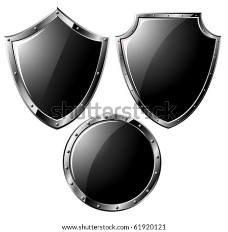 Set of black steel shields - isolated on white (vector)