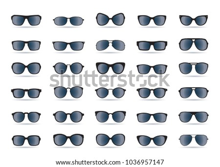 Set of black Sunglasses isolated. Vector Icons.