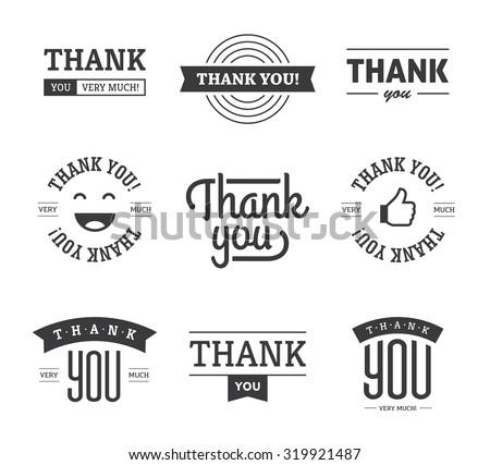 set of black thank you text