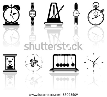 Set of black time icons, illustration