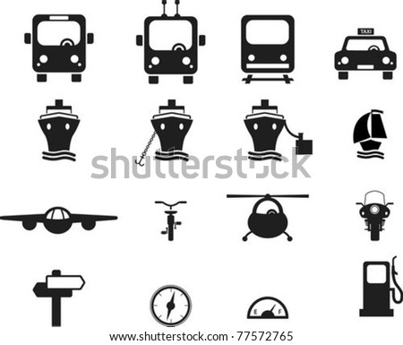 Set of black transportation icons.