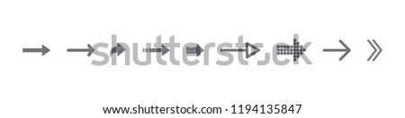 Set of black vector arrows. Arrows icon. Arrows vector icon. Arrows vector collection. Nine, 9 flat arrow icons. Stock vector illustration
