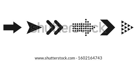 Set of black vector arrows. Arrows icon. Black arrows isolated on white background