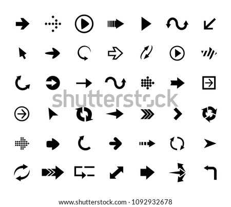 set of black vector arrows. in a different direction. vector collection of stylish illustrations #1092932678