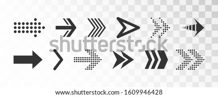 Set of black vector arrows. Various black icons. Cursor. A collection of conceptual arrows for web design, mobile apps, interface and more. Vector illustration, EPS 10.
