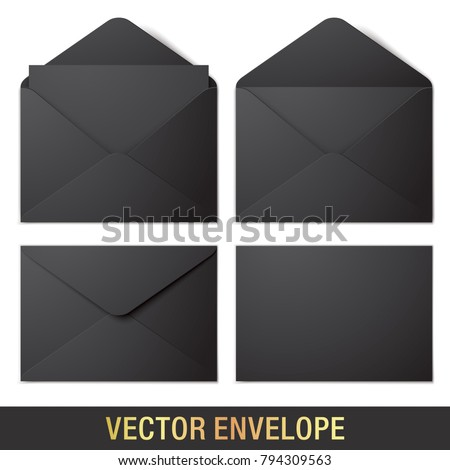Set of black vector envelopes in different views, isolated on a white background. Realistic vector envelope mockups.