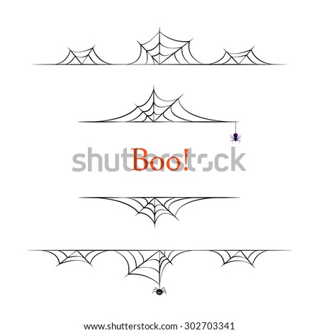 Set of black vector halloween borders on white background.