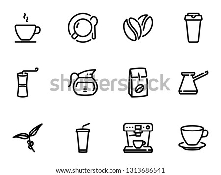 Set of black vector icons, isolated against white background. Illustration on a theme Coffee
