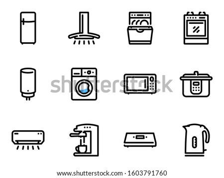 Set of black vector icons, isolated against white background. Illustration on a theme Kitchen Appliances