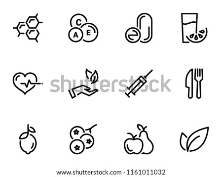 Set of black vector icons, isolated against white background. Illustration on a theme Vitamins and supplements. Natural and chemical #1161011032