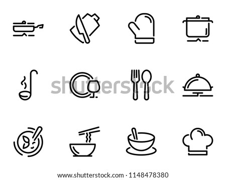 Set of black vector icons, isolated on white background, on theme Kitchenware. Cooking and serving of dishes