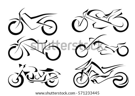 set of black vector motorcycles
