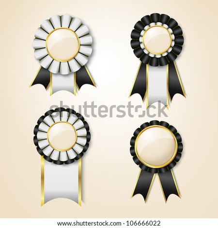 Set of black vector prize ribbons with place for text