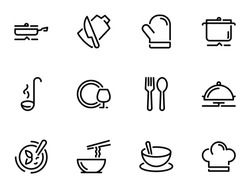 Set of black vector stroke, icons, isolated on white background, on theme Kitchenware. Cooking and serving of dishes, stroke