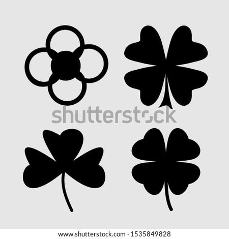 Set of Black Vectorized Flowers