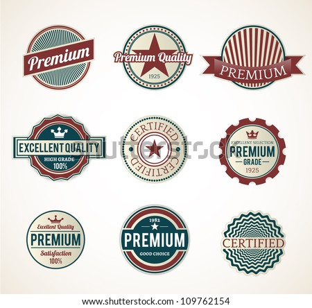 Set of Black Vintage Premium labels - stock vector
