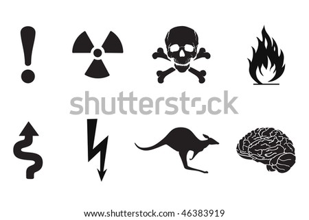 Set of black warning signs, silhouettes