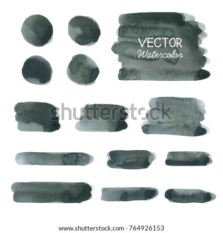 Set of Black watercolor brush strokes. Vector brush stroke
