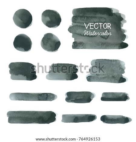 Set of Black watercolor brush strokes. Vector brush stroke