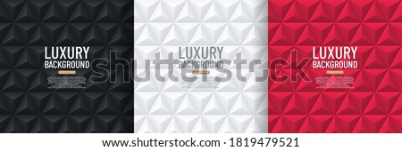 Set of black, white and red pyramid 3D pattern background. Abstract geometric  texture design. Vector illustration