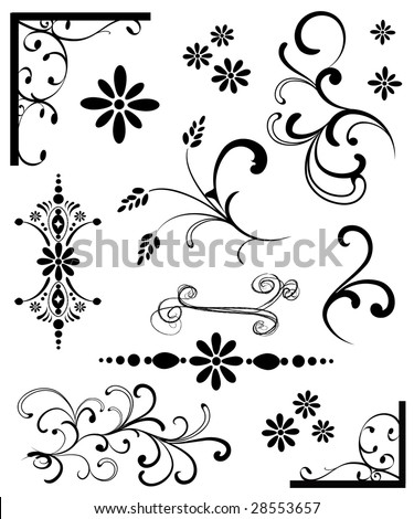 Set of Black & White Ornaments